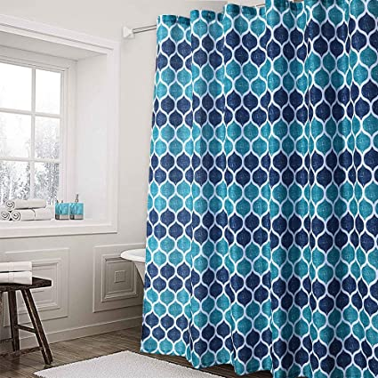 Haperlare Moroccan Fabric Shower Curtain Geometric Pattern For Bathroom Showers And Bathtubs