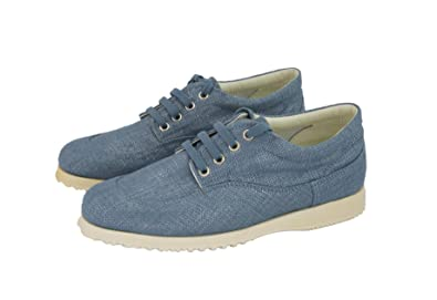 Hogan by TODS Easy Lace up Denim Jeans Blue Canvas Sneakers Shoes  B074CPK7D8