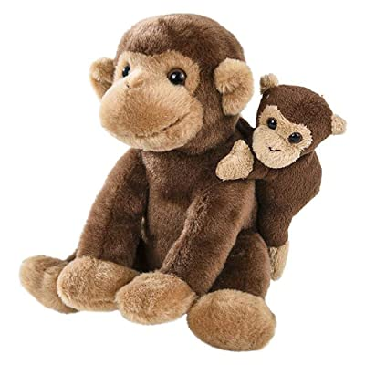 Wildlife Tree 7 Inch Small Stuffed Monkey Mom and Baby Plush Zoo Animal Mini Family Collection: Toys & Games