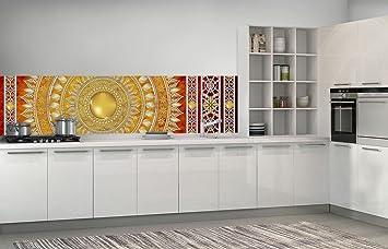 FORWALL Fototapete Küche Vlies Tapete Golden Mandala in Rot ...