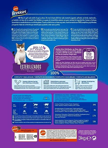 Brekkies Pienso para Gatos Gatos Esterilizados con Pollo y ...