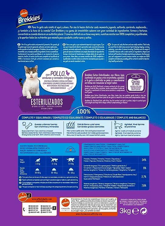 Brekkies Pienso para Gatos Gatos Esterilizados con Pollo y Verduras - 3000 gr: Amazon.es: Amazon Pantry