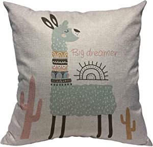 VERSUSWOLF Throw Pillow Cover Cute Cartoon Llama Cotton Linen Square Pillowcases Cactus Tribal Style Childish Nursery Hipster Summer Alpaca Wildlife Modern Cushion Cover Home Decor 18 X 18 Inch