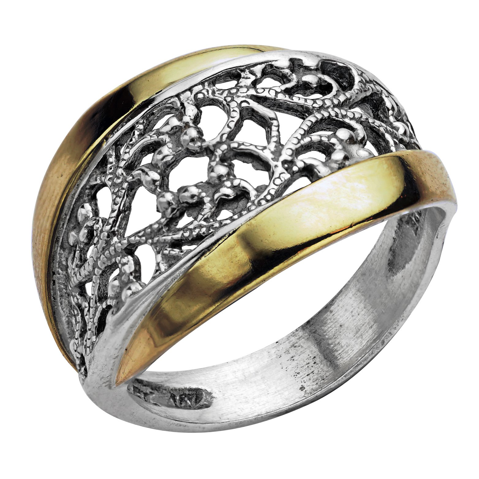 Paz Creations ♥925 Sterling Silver and 14K Yellow Gold Lace Ring (8), Made in Israel
