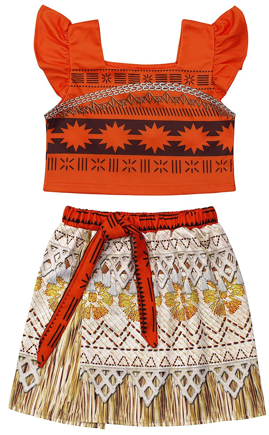 7d71bbee4b Moana Costume for Girls Dress up Toddler Baby Cosplay Outfit Little Kids  Skirt Sets