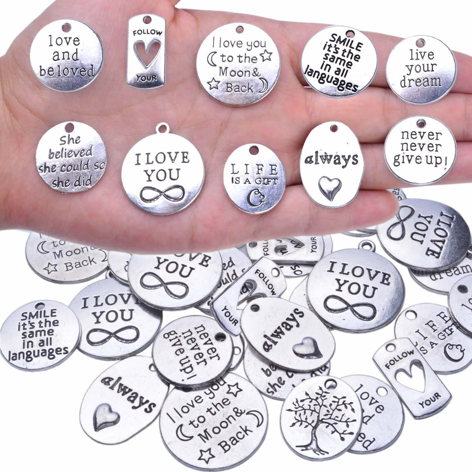 BronaGrand 40pcs Inspiration Words Charms Craft Supplies Beads Charms Pendants for Crafting, Jewelry Findings Making Accessory For DIY Necklace Bracelet 4336819444