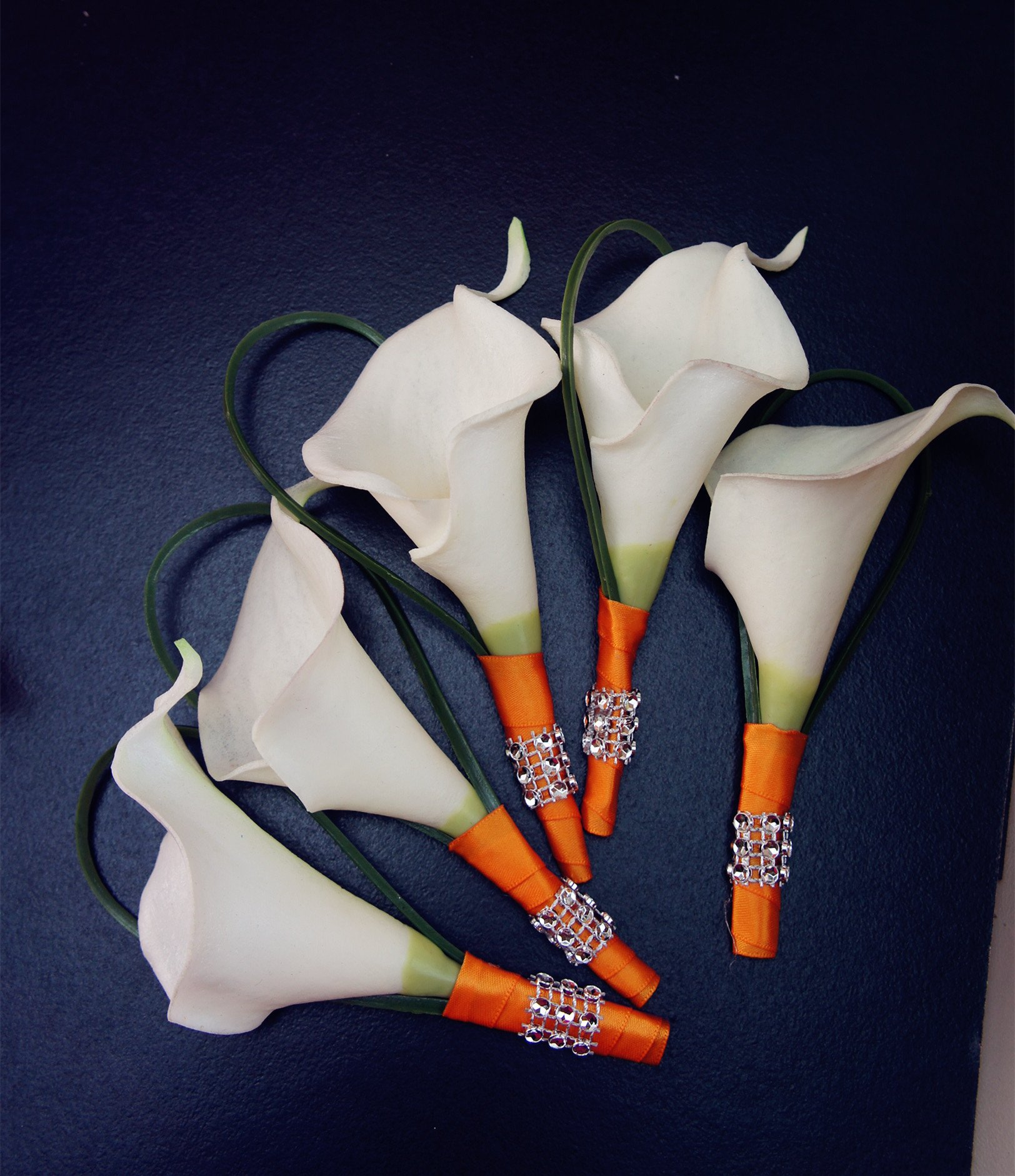 Set of 5 Boutonnieres - White Calla Lily Orange Ribbon by Angel Isabella