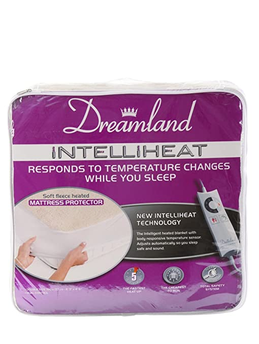 Dreamland Intelliheat Protector de colchón Premium forro polar [tamaño cama – solo]