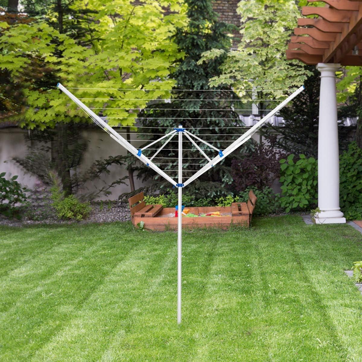 COSTWAY Tendedero Tipo Paraguas de Aluminio Plegable Soporte para Ropa para Exterior Jard/ín Camping