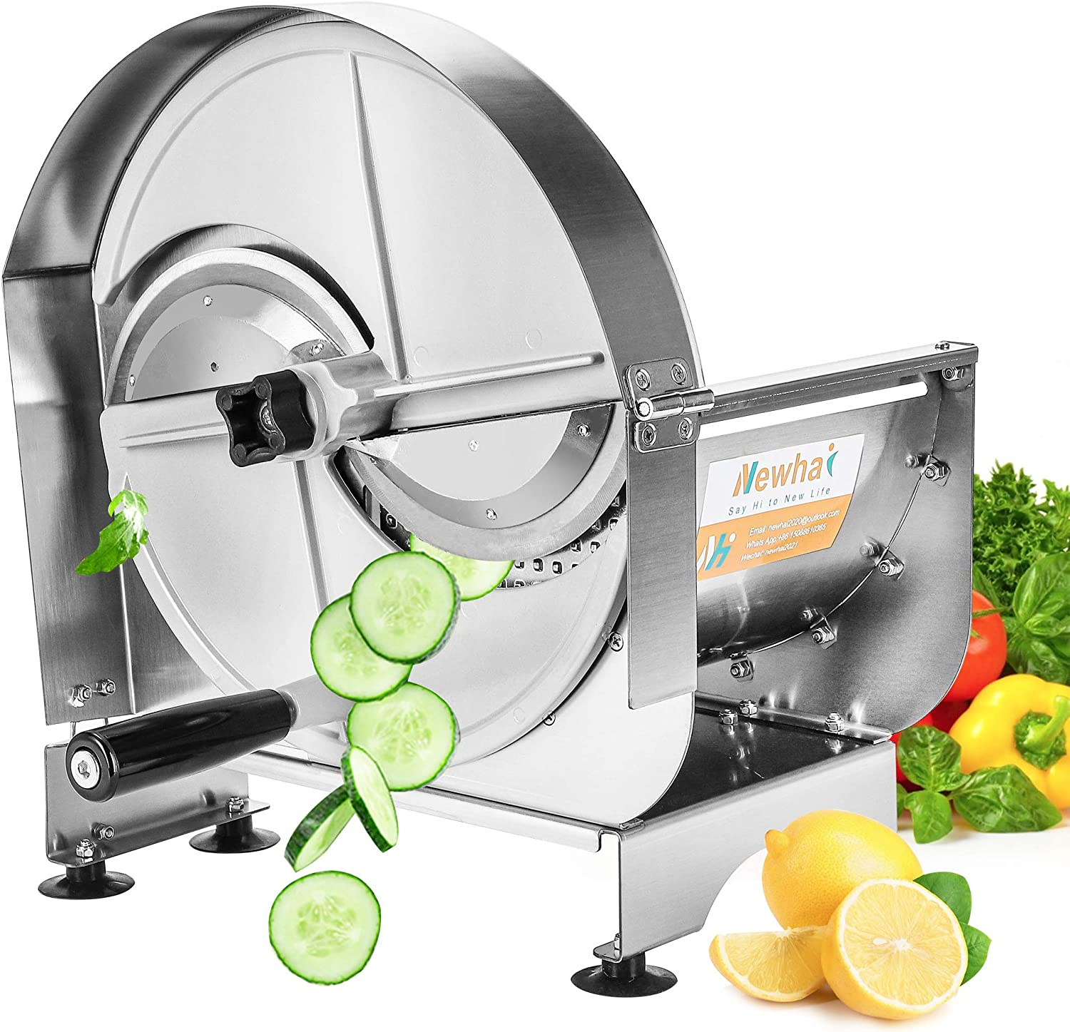 Newhai Manual Vegetable Fruit Slicer 0-12mm(0-0.47'') Thickness Adjustable Commercial Food Cutter Slicing Machine Stainless Steel for Potatoes Lemon Tomatoes with 2 Spare Blades (Stainless Steel)