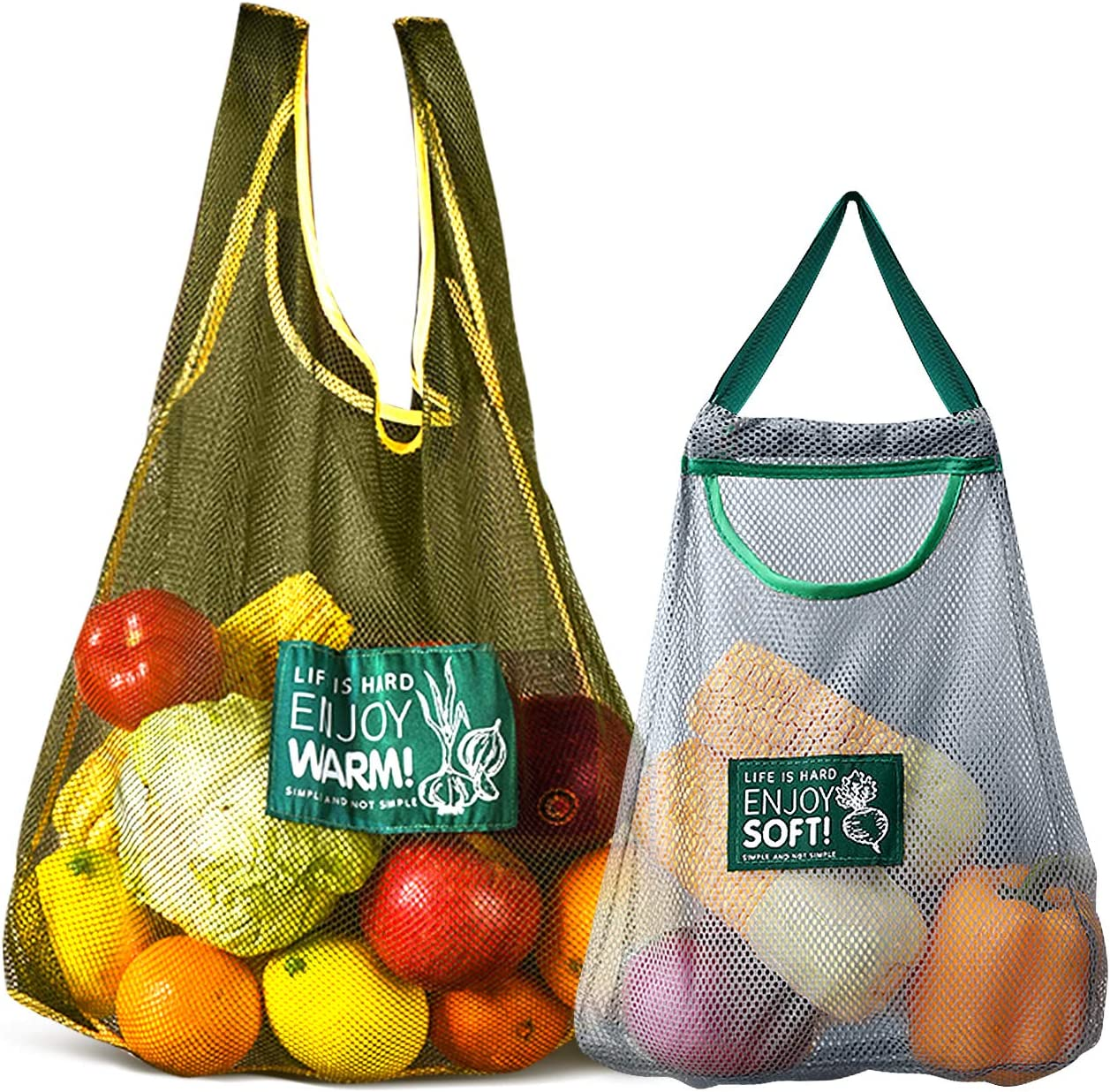 Versatile Hanging Mesh Storage Bags - Durable Onion Storage Fruit and Vegetable Bags Breathable Storage Mesh Bags for Garlics Potatoes Onions Saver Garbage Bag Organizer(1 Large + 1 Small)