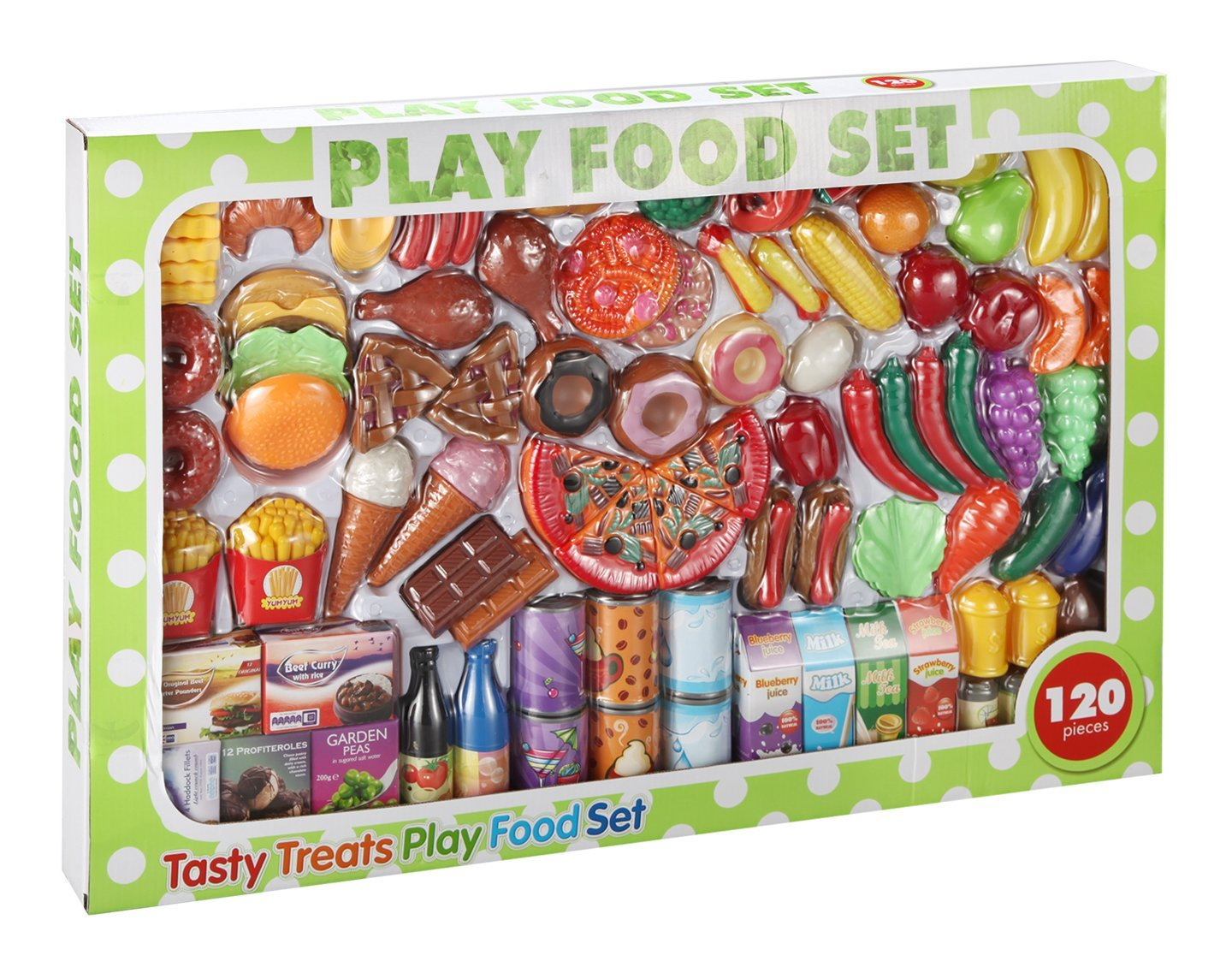 120 Piece Kids Pretend Food Fruit Vegetable Cakes Groceries Kitchen Deluxe Mega Play Set Quickdraw