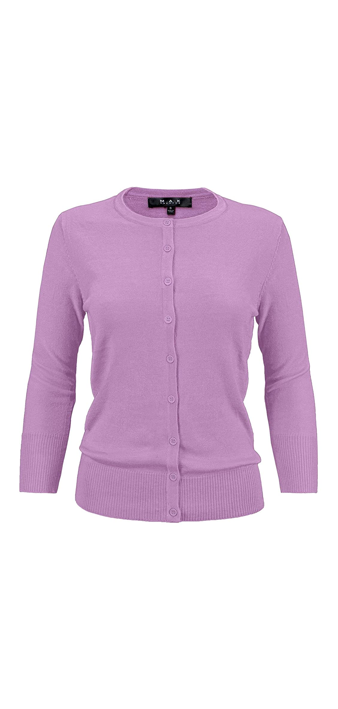 Women's / Sleeve Crewneck Button-down Knit Cardigan