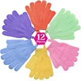 Exfoliating Gloves, Anezus 6 Pairs Shower Bath Scrub Wash Gloves with Hanging Loop for Body, Face, Shower, Bath, Scrub and Exfoliating (6 Colors)