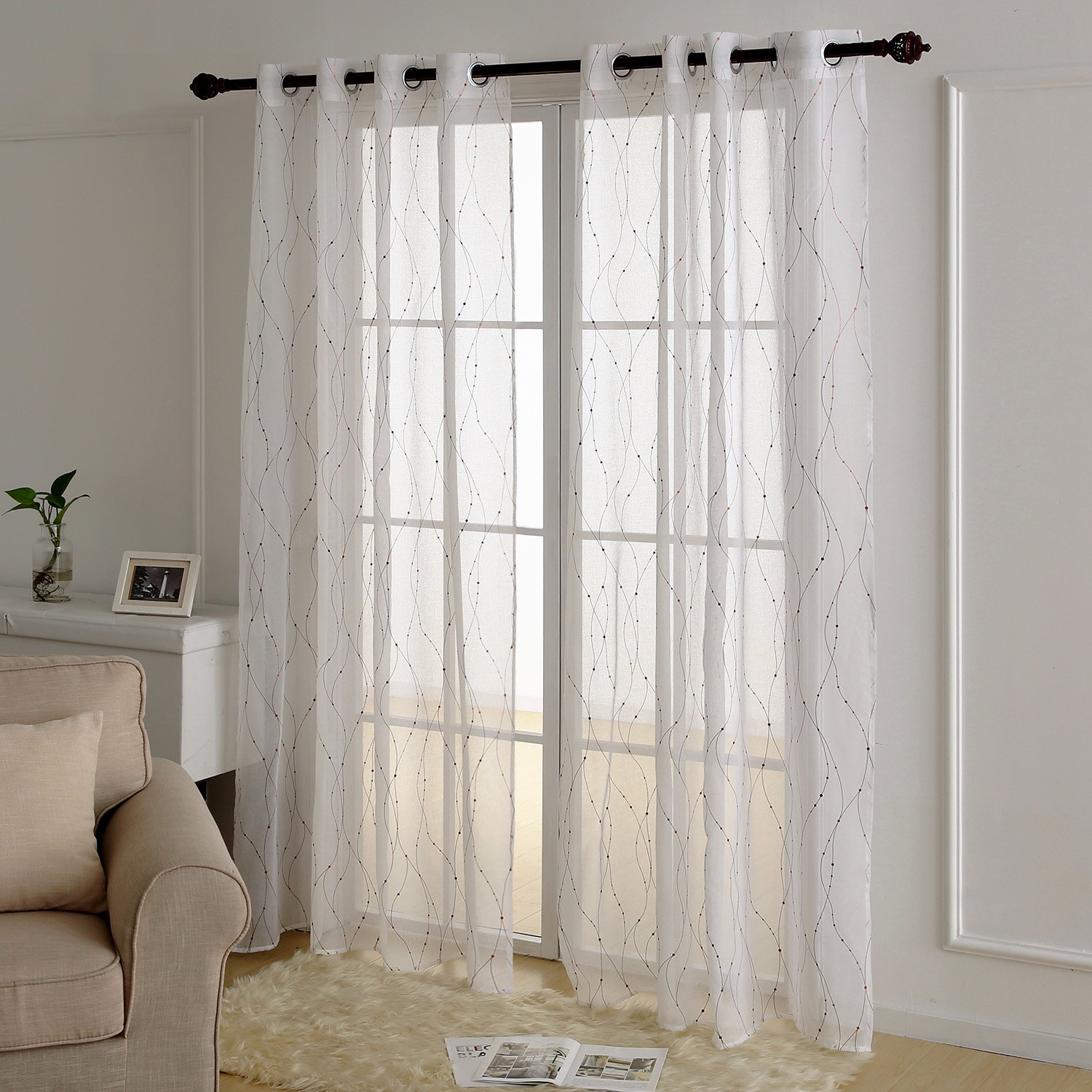 Deconovo White Sheer Curtains 54 Wave Line Dots Foil Printed Grommet Sheer Curtains Linen Look Voile Drapes Windows 52W x 54L Inch Dark Gold 2 Panels