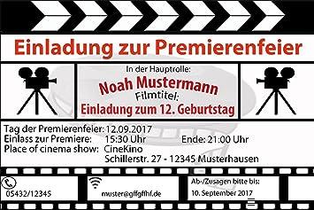 Kino Einladungskarten Kindergeburtstag Einladung   Inkl. Ihrer Daten Und  Texte   10 Stück