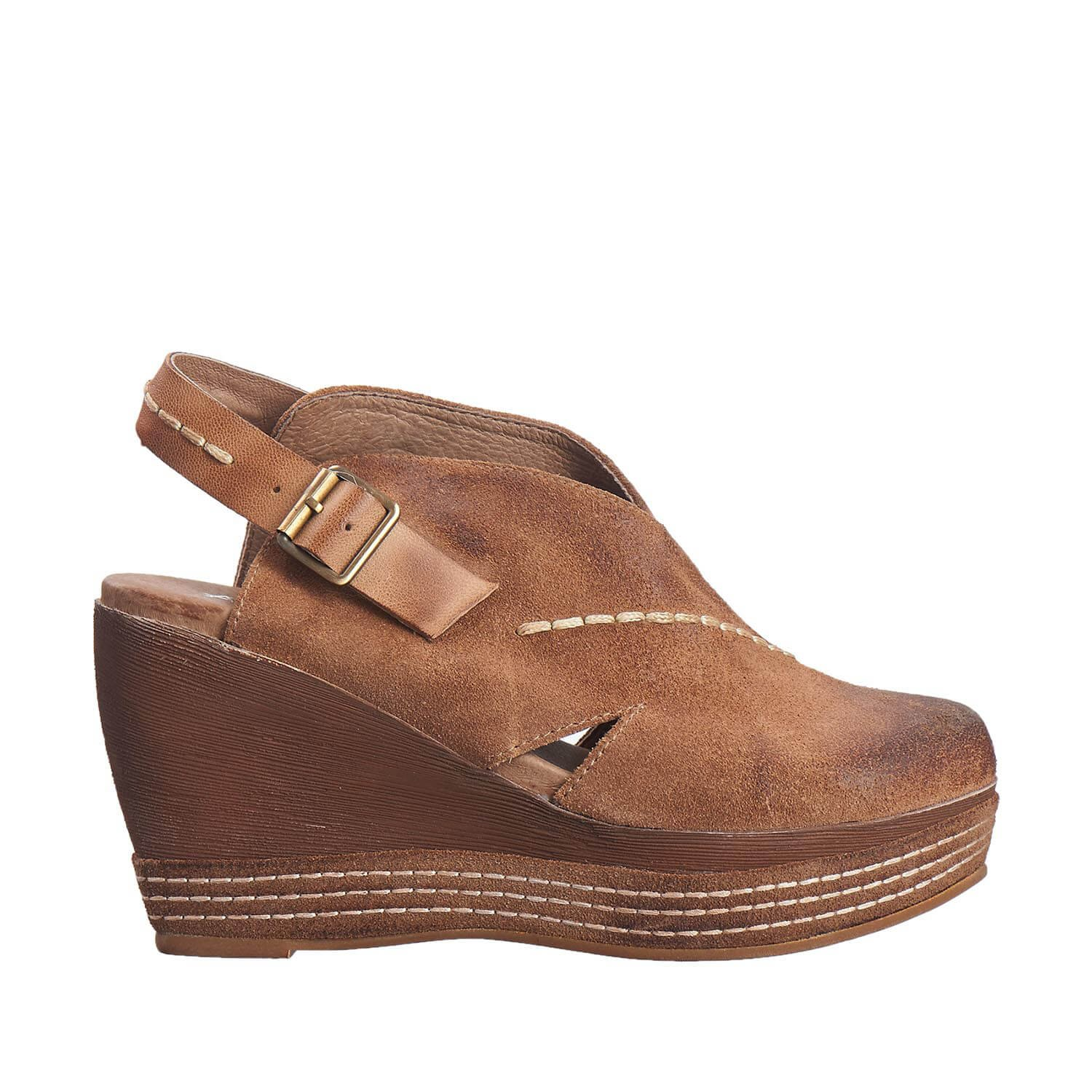 Antelope Women's 836 Taupe Suede Cutout Sling Wedge 38 by Antelope (Image #2)