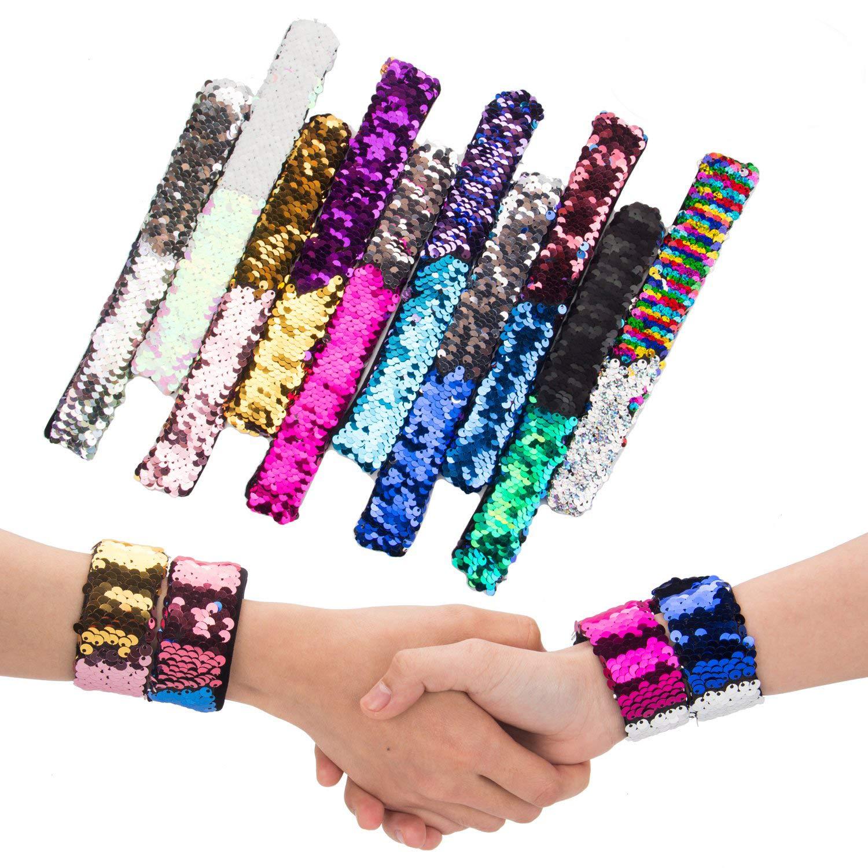 BeYumi 10p Mermaid Bracelet, Slap Bracelet, 2-Color Reversible Charm Sequins Slap Wristband Magic Calming Bracelets Kids, Girls, Boys Super-Soft Velvet Lining
