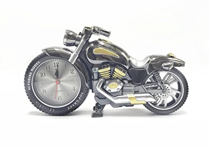 Amazon.com: YMANX Black Gold Motorcycle Alarm Clock Ticking ...