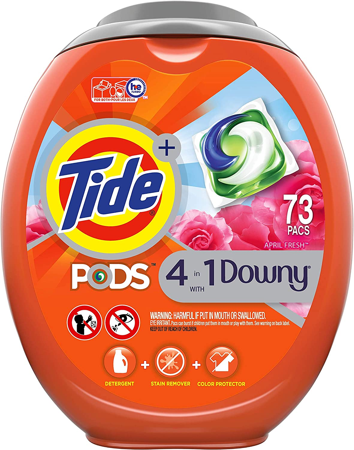 Tide Pods with Downy, Liquid Laundry Detergent Pacs, April Fresh, 73 Count - Packaging May Vary