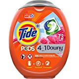 Tide PODS 4 in 1 with Downy, Laundry Detergent Soap PODS, High Efficiency (HE), April Fresh Scent, 73 Count