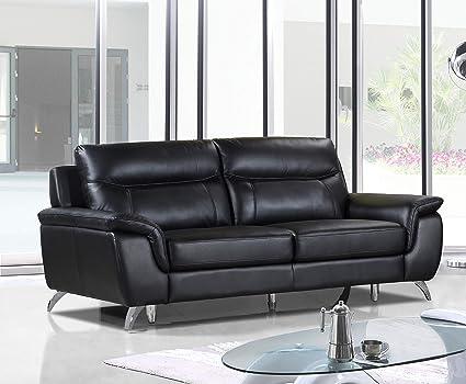 Amazon.com: Cortesi Home CH-3CHICAGO113 Chicago Leather Sofa, 79 ...