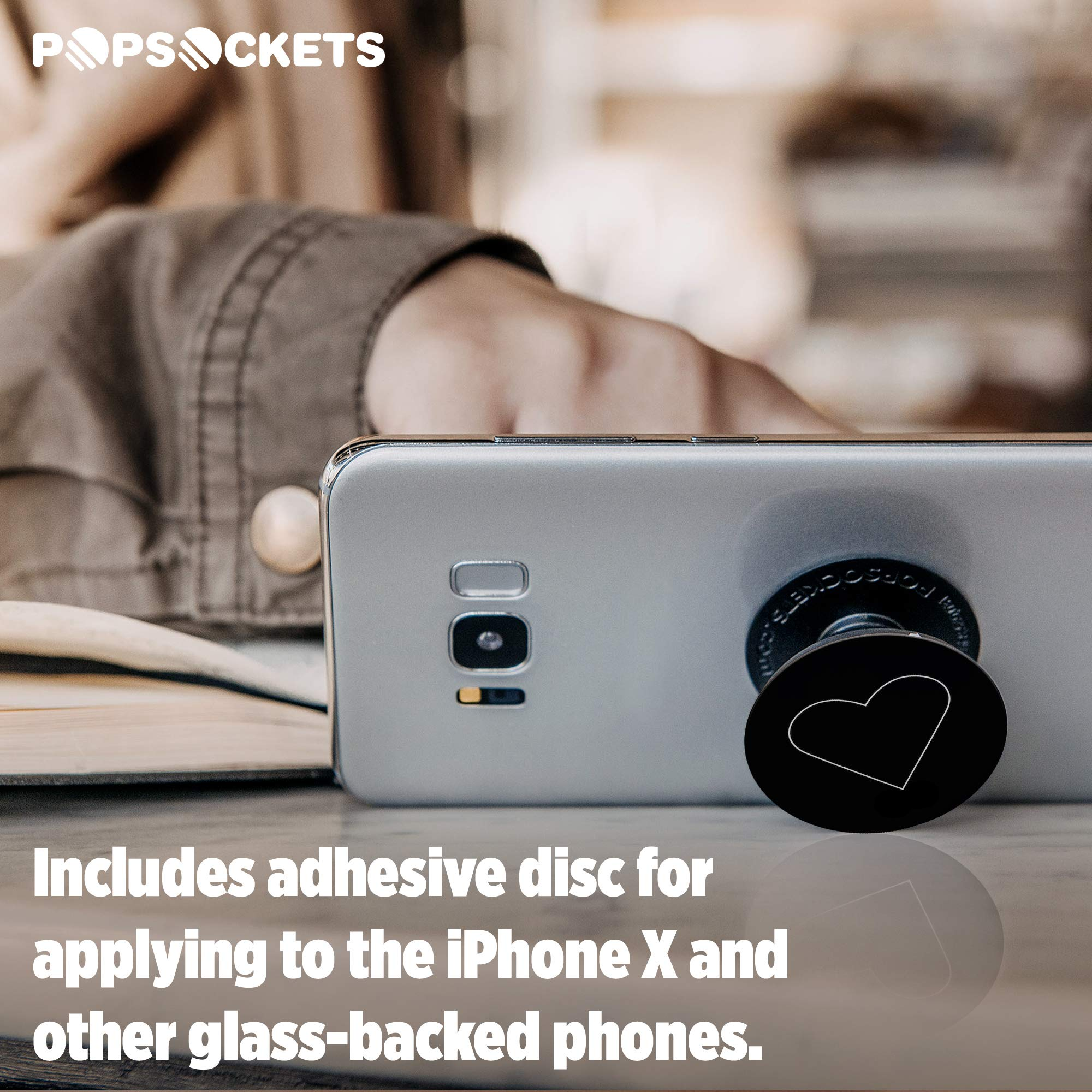 PopSockets: Collapsible Grip & Stand for Phones and Tablets - White Heart Black by PopSockets (Image #6)