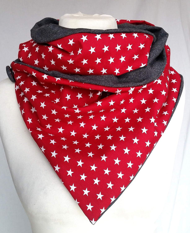 Loop Fleece Erdbeeren handmade Knopf Dreieckstuch DIY Winter dots Punkte Zipfel