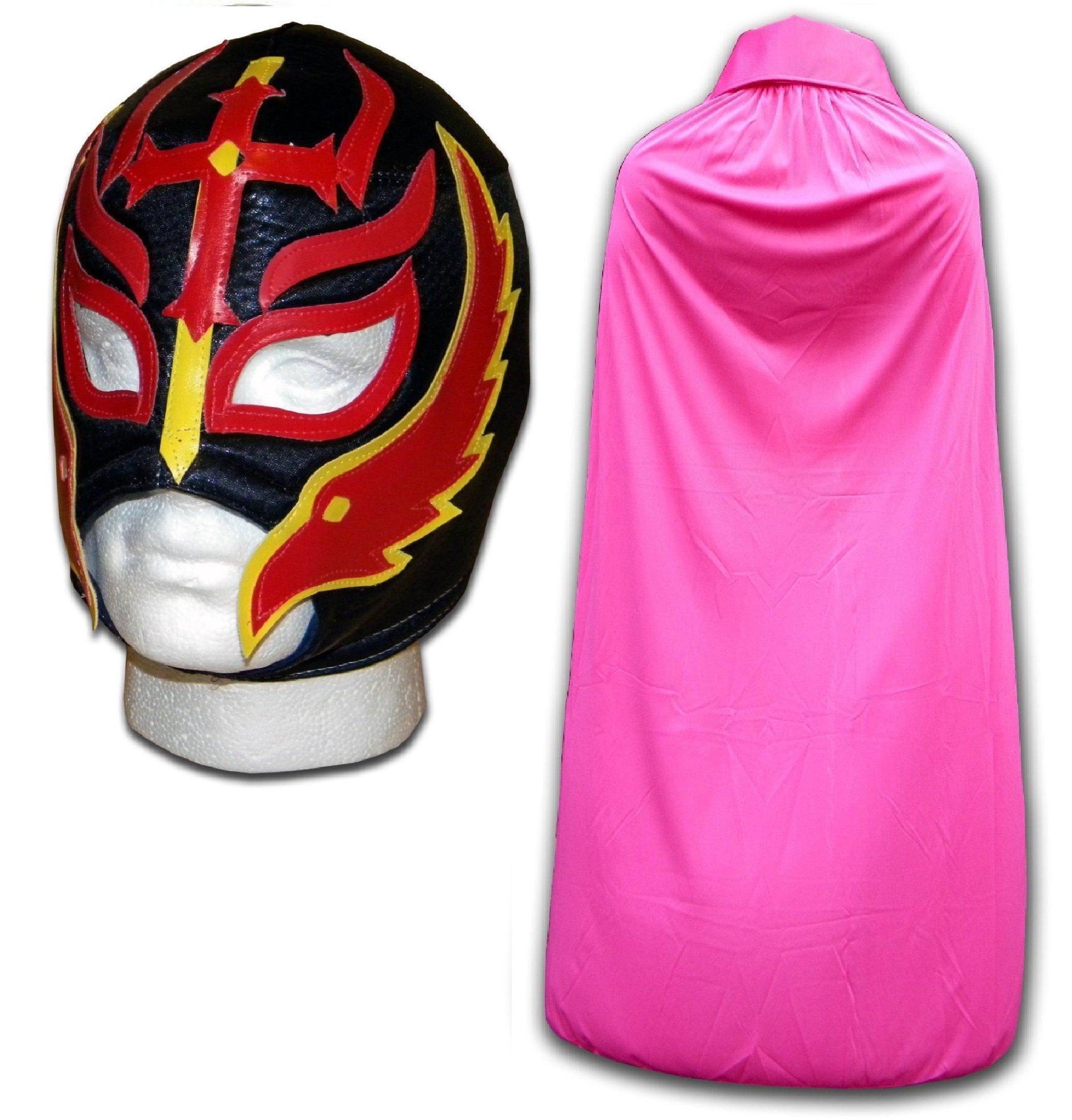 WRESTLING MASKS UK Men's Son Of The Devil Mask With Cape Luchador Wrestling Set One Size Black/ Pink