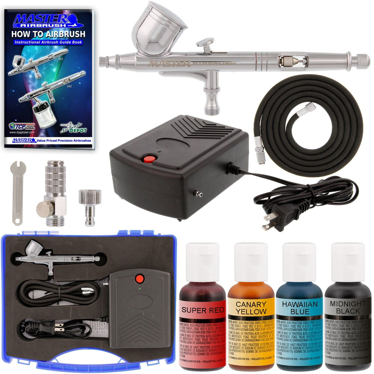 Complete Professional Airbrush Cake Decorating System with a Suction Feed Airbrush, Compressor, Air Hose and a Pack of 12 - .7 fl oz. Chefmaster Food Colors Master Airbrush KIT-CAKE-S68E