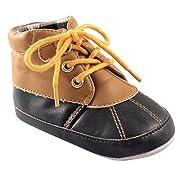Luvable Friends Boys' Duck Boot Crib Shoe, Tan/Navy, 6-12 Months M US Infant