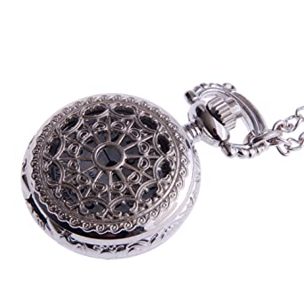Ladies pendant pocket watch steampunk vintage necklace design with ladies pendant pocket watch steampunk vintage necklace design with chain silver small face white dial arabic mozeypictures Images