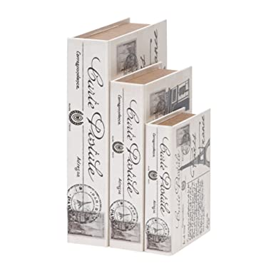 Deco 79 Wood Leather Book Box, 15 by 12 by 9-Inch, White, Set of 3