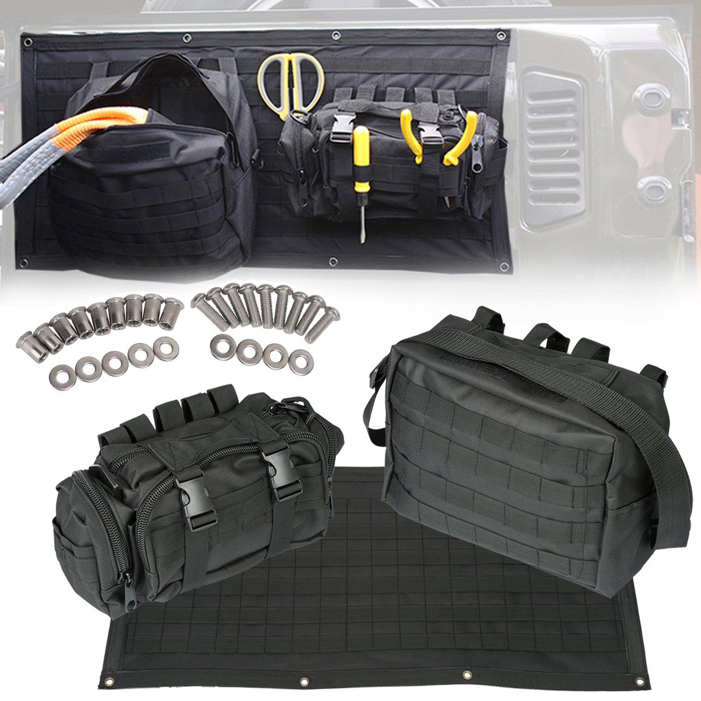 Opall 2Pcs Roll Bar Storage Bag Cargo for 07~17 Jeep Wrangler JK 4-door with Multi-Pockets & Organizers & Cargo Bag Saddlebag Tool Kits Bottle Drink Phone Tissue Gadget Holder