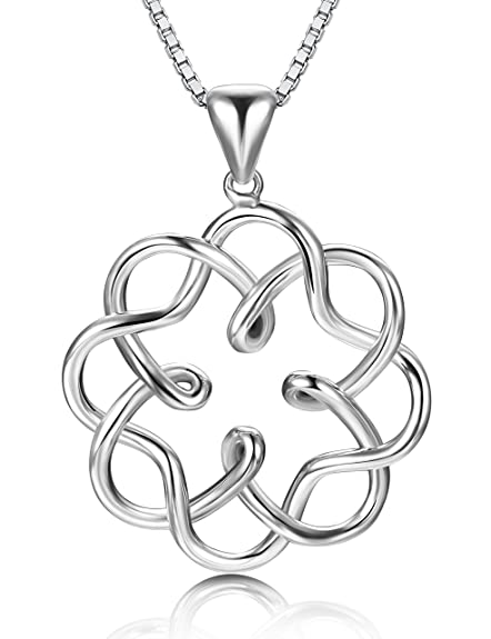 S925 Sterling Silver Irish Infinity Endless Love Celtic Knot Pendant Heart Necklace for Womens Gift Fine Jewelry Chain 18