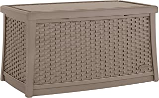 product image for Suncast Elements 30-Gallon End Table with Storage - Lightweight Resin Outdoor Storage Patio and Coffee Table for Cushions, Gardening Tools and Toys - Store Items on Patio - Dark Taupe