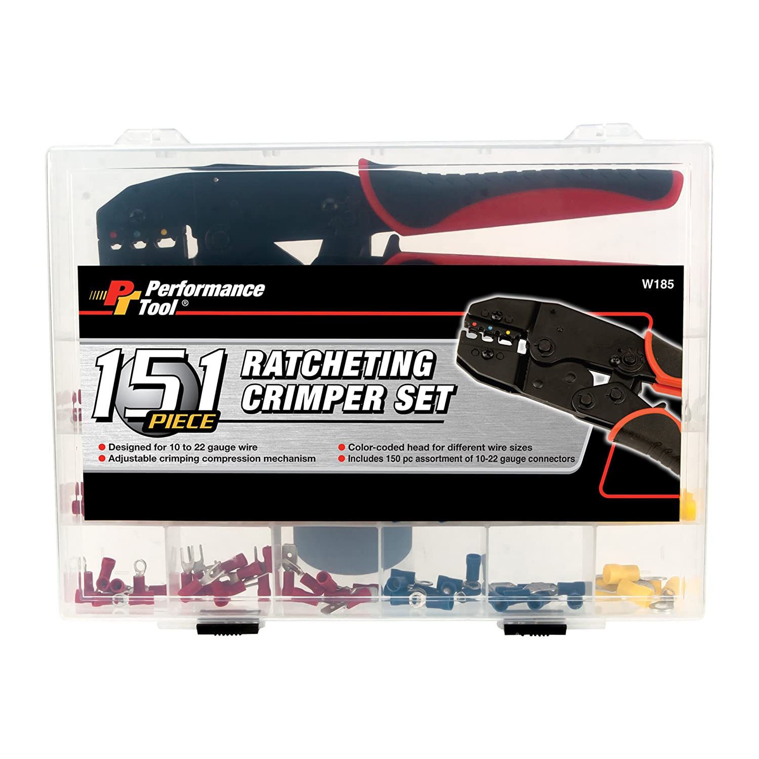 Performance Tool W185 151 Piece Ratcheting Crimper Set Color Coded 22 Gauge Wires Home Improvement
