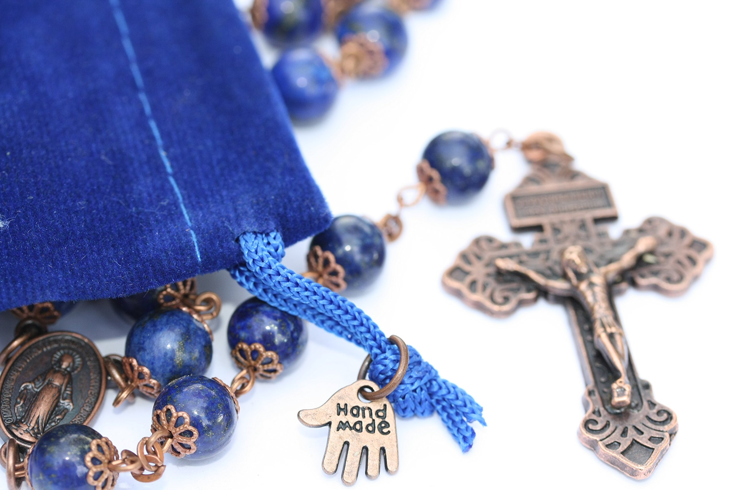 Large Genuine Lapis and Copper 10mm 5 Decade Natural Stone Bead Rosary Made in Oklahoma by Oklahoma Rosaries (Image #3)