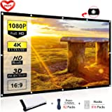 Ylife Projector Screen, 16:9 HD 4K No Crease Portable Video Projection Movie Screen Grommets for Home Theater Outdoor (100 Inch)