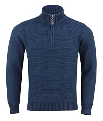 fe91b3417bc574 Xposed Mens Funnel Neck Half Zip Neck Patterned Jumper Long Sleeve Knitted  Sweater  Amazon.co.uk  Clothing