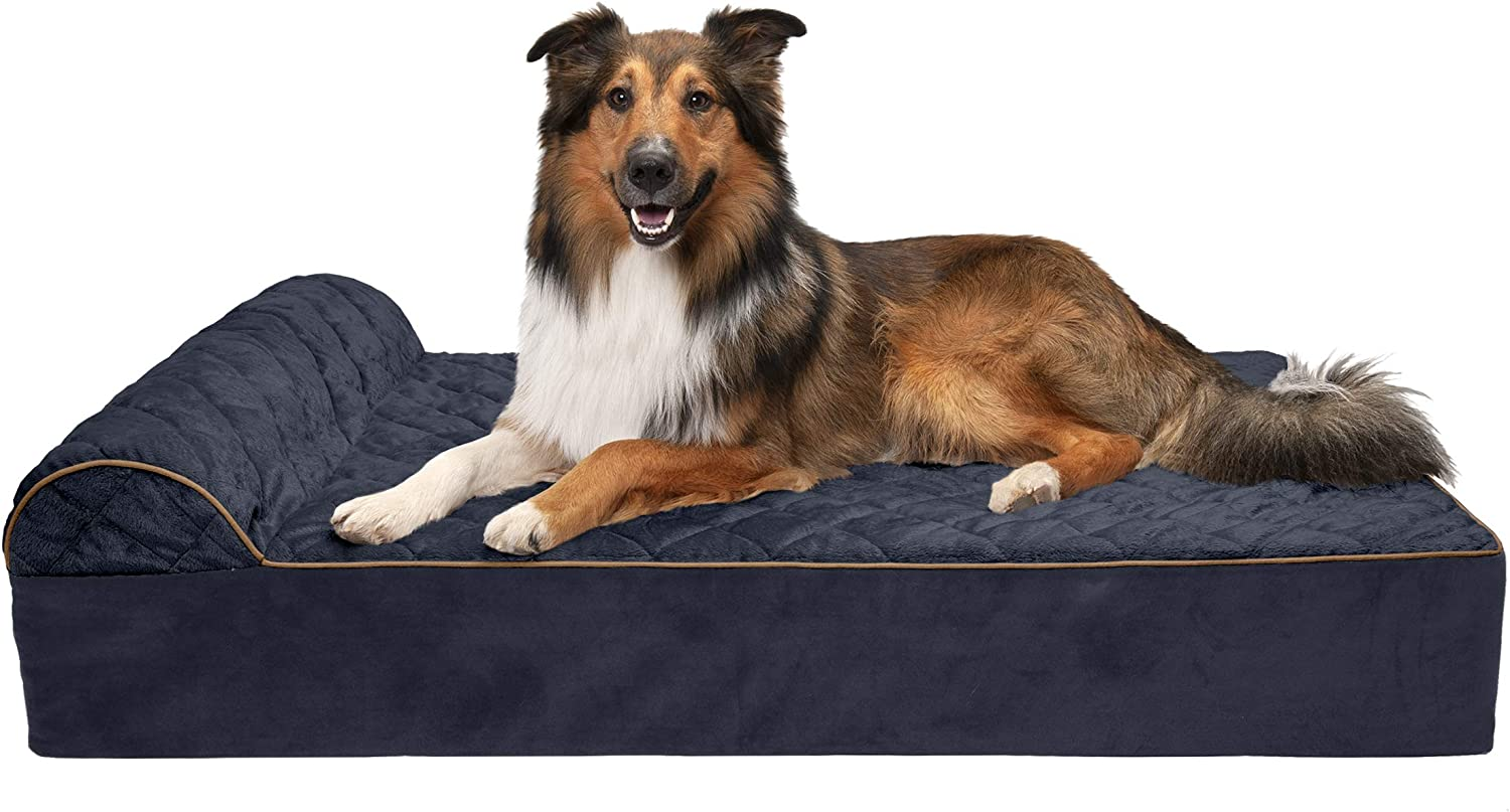 Furhaven Pet - Orthopedic Chaise Lounge, Deluxe L-Shaped Chaise Couch, Luxury Full-Support Sofa, Calming Donut Dog Bed & More Choices for Dogs & Cats - Multiple Styles, Colors, & Sizes