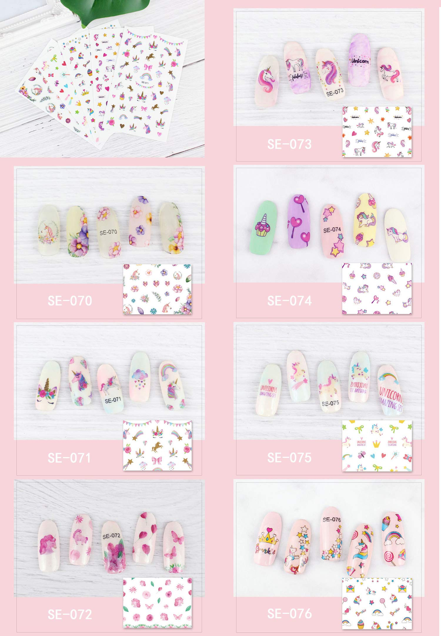 Le Fu Li 19 sheets Kids Self Adhesive Unicorn Nail Art Stickers Decals Manicure Decoration for Little Girls for… 8