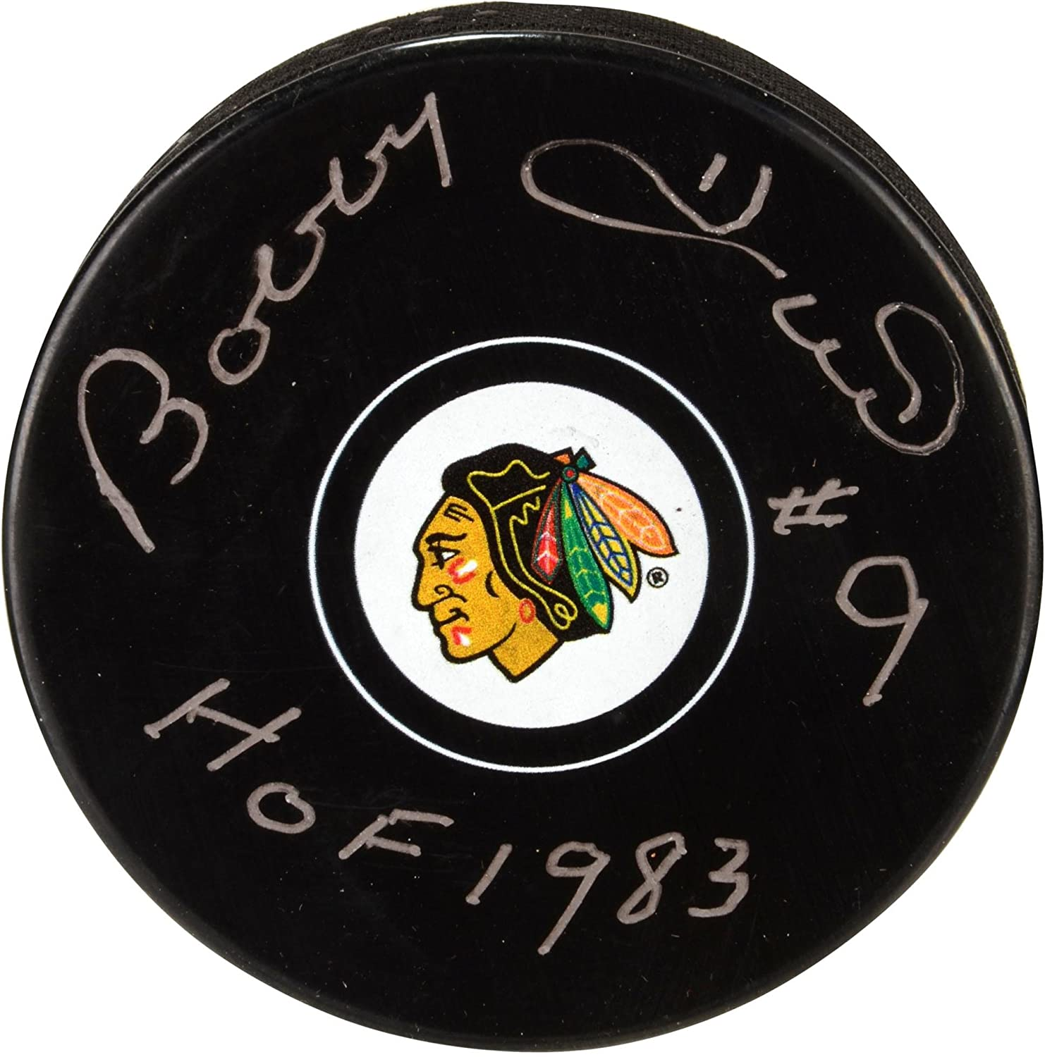 Bobby Hull Chicago Blackhawks Autographed Hockey Puck with HOF 1983 Inscription - Fanatics Authentic Certified