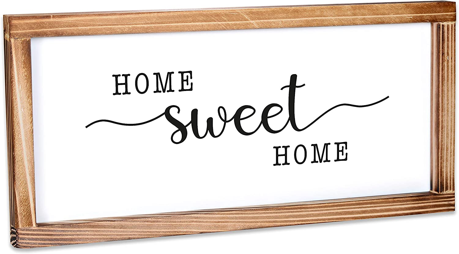 MAINEVENT Home Sweet Home Sign - Rustic Farmhouse Decor for The Home Sign - Wall Decorations for Living Room, Modern Farmhouse Wall Decor, Rustic Home Decor with Solid Wood Frame - 8x17 Inch