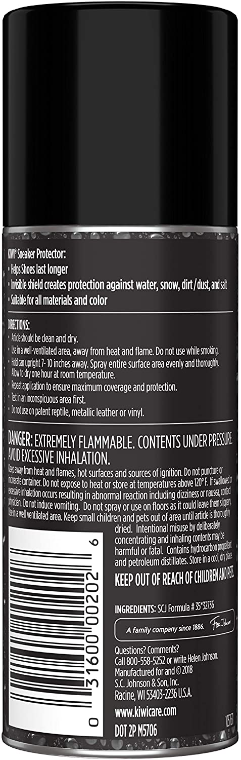 KIWI Sneaker Protector 4.25 oz - Stain repellent and waterproof spray for shoes. For all shoe materials and colors. Step 2 of the 3-Step Sneaker Care system (1 Aerosol Spray Can) (Pack - 1): Shoes