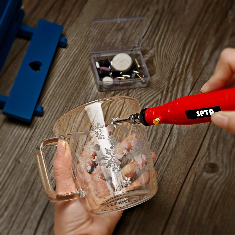 SPTA Mini Multifunktionswerkzeug,18W Mehrzweckschleifmaschine mit variabler Drehzahleinstellungen und 33 teiligem Zubeh/ör-Set Rotary tool f/ür viele kreative Projekte oder Heimwerkerarbeiten