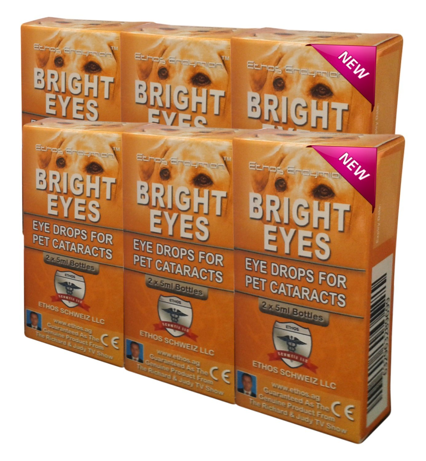Carnosine Eye Drops 6 boxes (12 x 5ml bottles) - Ethos Bright Eyes™ NAC Eye Drops for Pets as Seen on UK National TV with Amazing Results! NAC n acetyl carnosine eye drops - Protect Your Pet's Vision with the Very Best Eye Care Available...