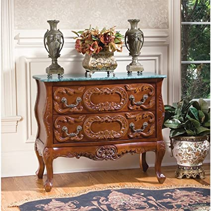 "30"" French Antique Replica Furniture Solid Hardwood Marble-topped  Chest Foyer - Amazon.com: 30"