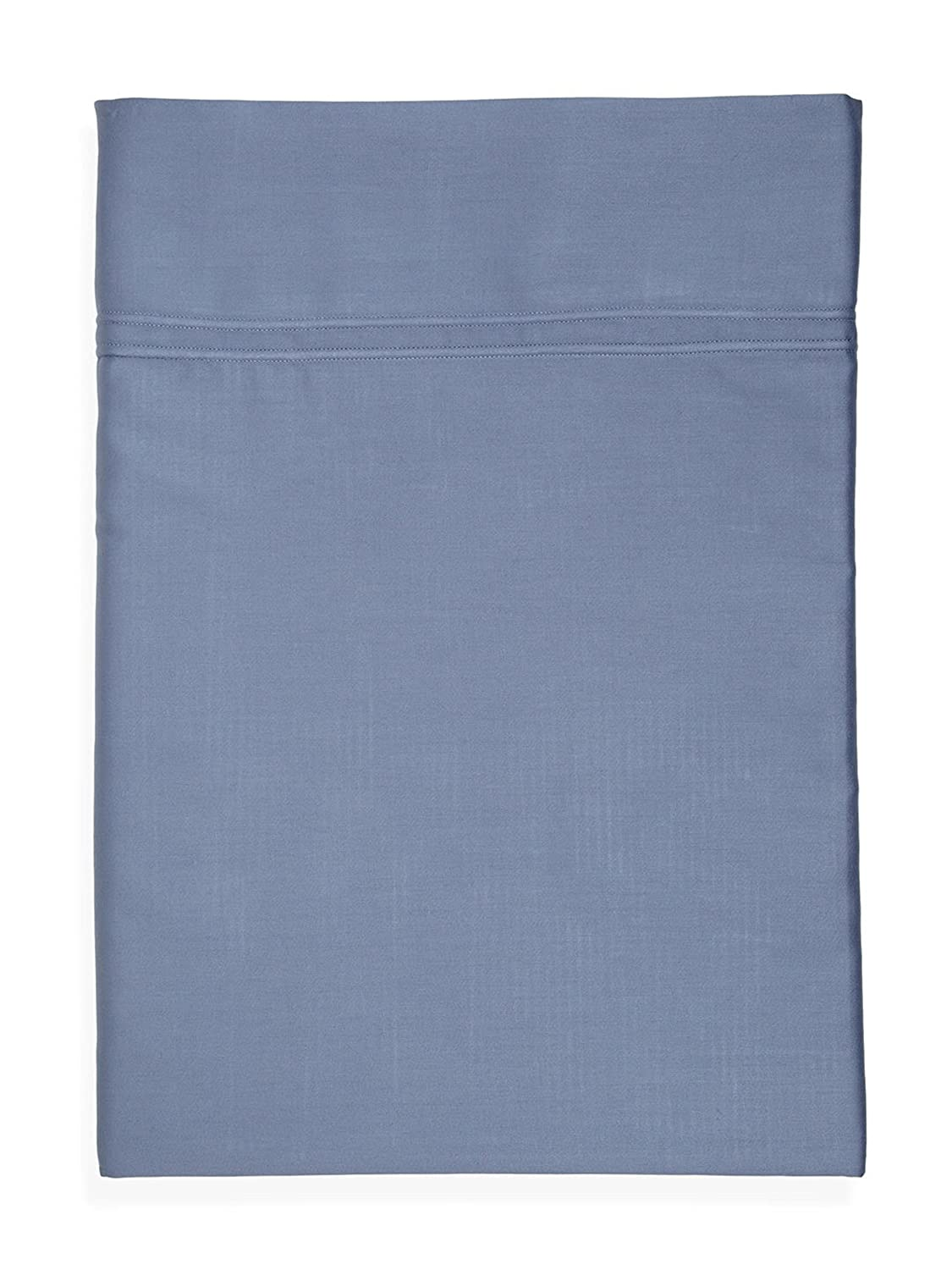 Yves Delorme Triomphe Blue Queen Flat Sheet Baltic Solid 100% Egyptian Cotton