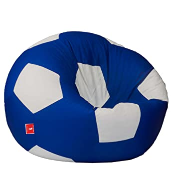 Awesome Comfybean Bags Football Xxxl Bean Bag Filled With Beans Filler Blue And White Gamerscity Chair Design For Home Gamerscityorg